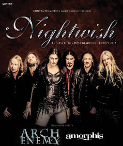 Nightwish Arch Enemy Amorphis Europa 2015 Flyer