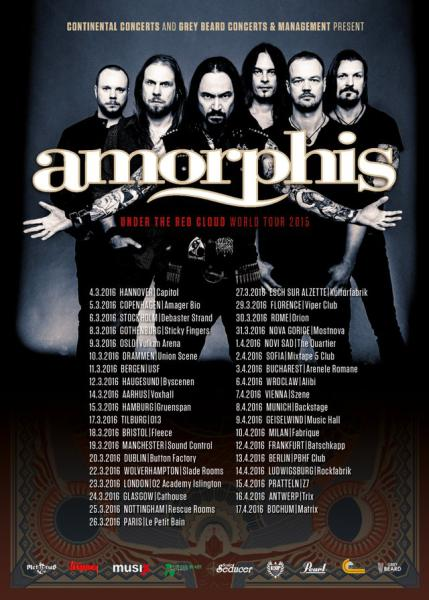 Amorphis Under The Red Cloud Europa 2016 Flyer