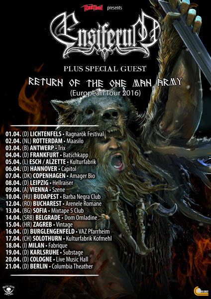 Ensiferum Return of the One Man Army Tour 2016 Flyer