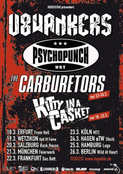 V8WANKERS und PSYCHOPUNCH Deutschland Tour 2016 Flyer