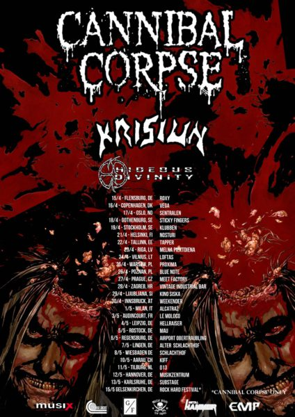 Cannibal Corpse Europatour 2016 Flyer