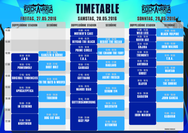 Rockackavaria 2016 Running Order 21-Apr-2016
