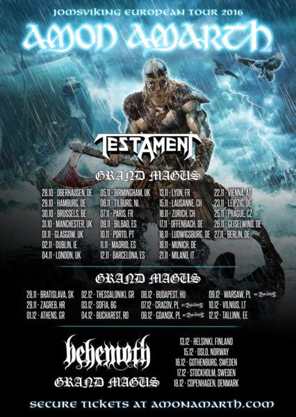 Amon Amarth Tour 2016 Flyer