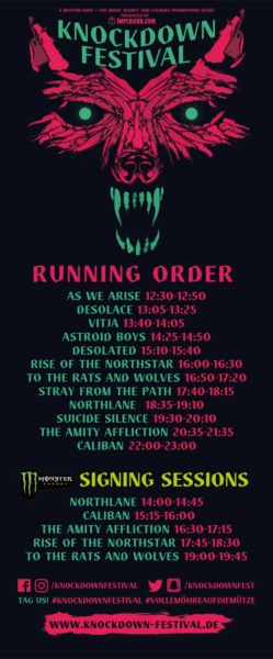 Knockdown Festival 2016 Running Order