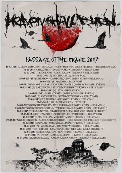Heaven Shall Burn Passage of the Crane 2017 Flyer