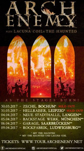 Arch Enemy As The Stages Burn Deutschland 2017 Flyer