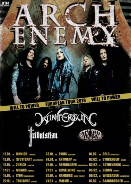 Arch Enemy Will to Power Europa Tour 2018