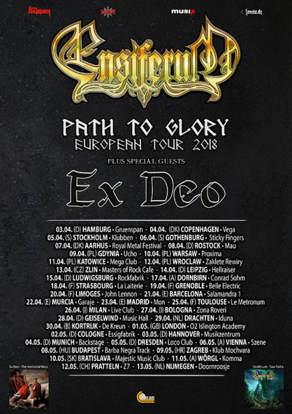 Flyer Ensiferum Path To Glory Europatour 2018