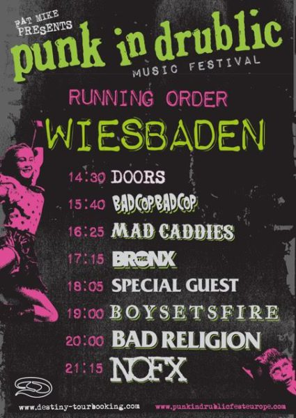 Punk in drublic Wiesbaden 2018 Running Order